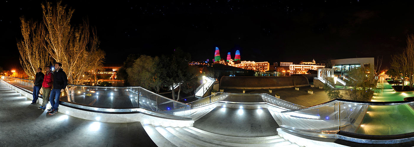 Flame Towers from Venice, Baku Boulevard - Virtual tour