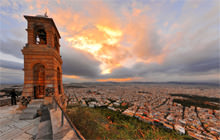 Sunset from Lykavittos hill, St. George Chapel, Athens - Panorama 360°