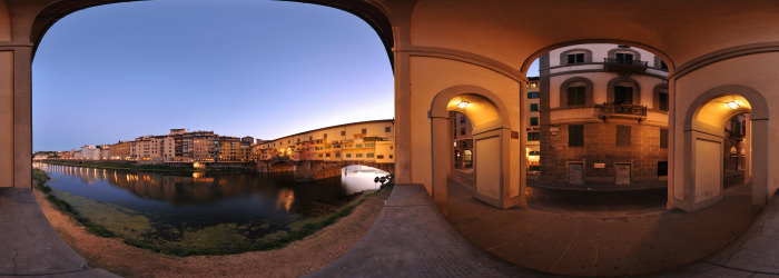Ponte Vecchio at dusk, Florence - Panorama 360°